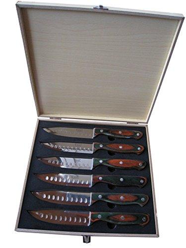 """Dr. Richter Steakmesser """"Texas XXL"""" 6er-Set in Holzbox - schneidet problemlos auch die dicksten Steaks. Neues Modell - spiegelglanzpoliert!"""