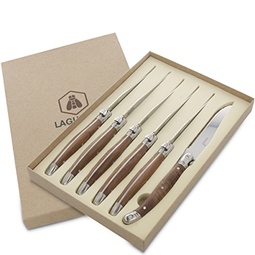 Messer-Set 6 Steakmesser von Laguiole aus rostfreiem Edelstahl