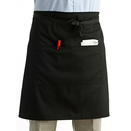 ROSENICE Bistroschürze Kurze Kellnerschürze mit Taschen Unisex Taille Schürze (Schwarz)