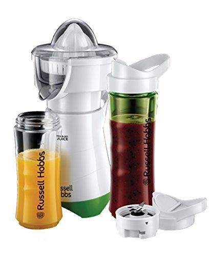 Russell Hobbs 21352-56 Explore Smoothie Maker Mix and Go Juice, Standmixer inklusive 2 Trinkflaschen, 300 W, weiß/grün