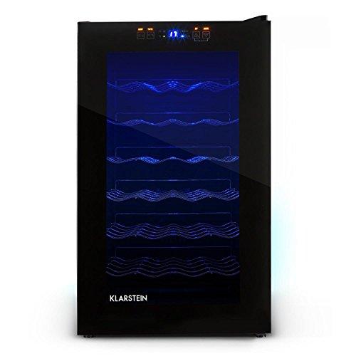 Klarstein MKS-2 Weinkühlschrank Getränkekühlschrank (70 Liter, 28 Flaschen, 6 Regaleinschübe, Touchpad-Steuerung, blaue LED-Beleuchtung) schwarz