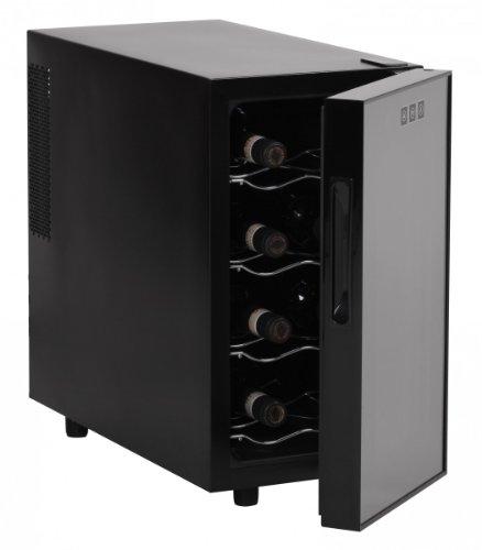 AMSTYLE Design Weinkühlschrank 23 Liter 8°C-18°C - 8 Flaschen Weinkühler schwarz EEK: 'A'