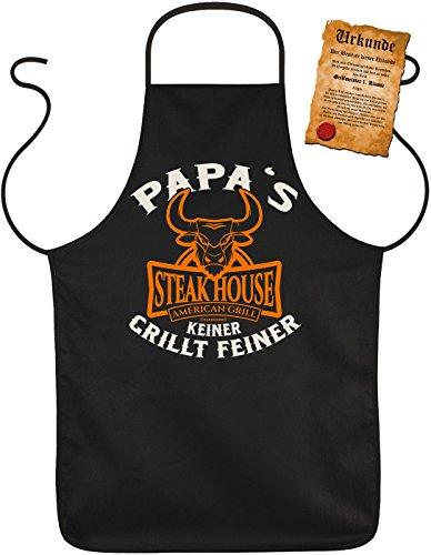 Grillschürze Papa s Steak House Kochschürze Grill Schürze Geschenk Set bedruckt mit Grillmeister-Urkunde