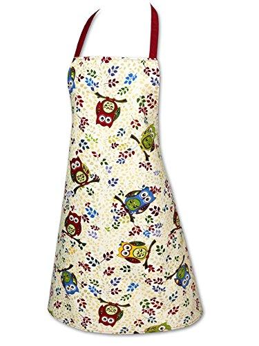 """Originelle Küchen-Serie """" Vergnügte Eulen """" - zur Auswahl : Topflappen oder Backhandschuhe , wunderschönes farbenfrohes Eulen - Motiv - hochwertig , mit Baumwolle , eine schöne kleine Geschenk - Idee - ein MUSS für alle Eulen-Fans - NEU aus dem KAMACA-SHOP (1 x Schürze)"""