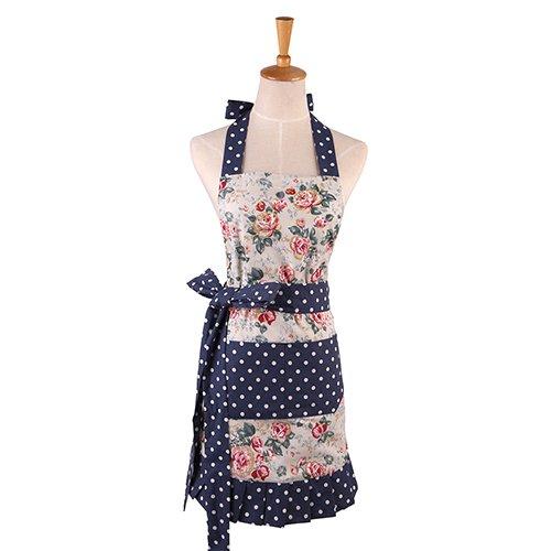 G2PLUS Schön Frau Schürze Baumwolle Blumenmuster Küchenschürze Modische Apron mit Taschen zum Kochen oder Backen (Pink 2)