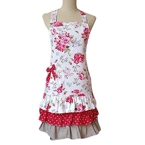 G2Plus Schön Frau Schürze Schürze Baumwolle Küchenschürze Modische Apron mit Taschen zum Kochen oder Backen (Frau Schürze)