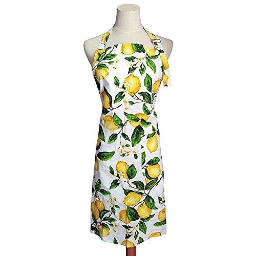 G2PLUS Mode Frau Schürze Baumwolle Blumenmuster Küchenschürze Modische Kochen Backen Apron mit Taschen Lemon