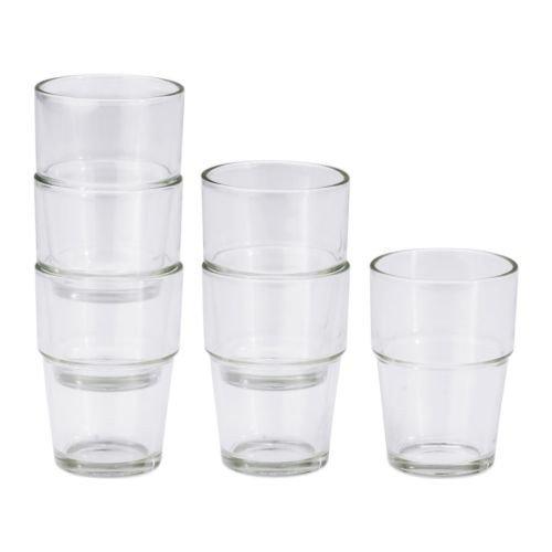 """IKEA 6-er Set Gläser """"REKO"""" STAPELBAR 170 ml - 9 cm hoch - Spülmaschinenfest"""