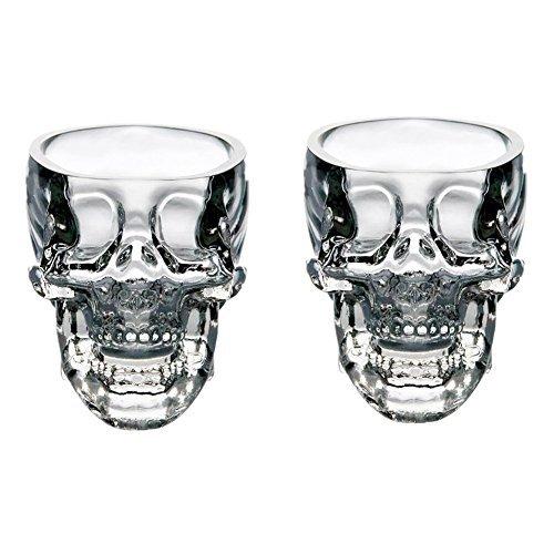 EASYTAR Hochwertig Kristalle 3D Schädel Piratinnen Shot Glas Drinks Cocktail Bier Tassen, Set of 2