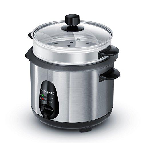 Arendo - Edelstahl Dampfgarer / Reiskocher | inkl. Dampfgarfunktion | 1,0l Kapazität | Warmhaltefunktion | mit Innentopf und Deckel, Messbecher, Pfannenwender, Dampfgaraufsatz