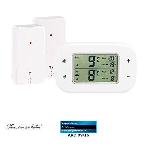 Rosenstein & Söhne Kühlschrankthermometer: Digitales Kühl- & Gefrierschrank-Thermometer, 2 Funk-Sensoren, weiß (Kühlschrank Alarm)