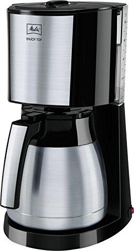 Melitta, Filterkaffeemaschine im Edelstahl-Look mit Edelstahl-Thermkanne, Patentierter Aromaselector, Automatische Endabschaltung, Schwarz, ENJOY Top Therm, 214457