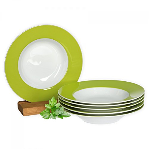 Van Well 6er Set Suppenteller Serie Vario Porzellan - Farbe wählbar, Farbe:grün