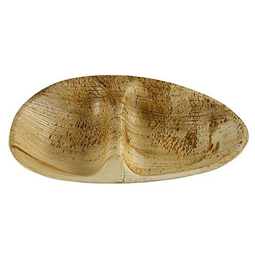 Menüschale 2-geteilt aus Palmblatt 26,5 x 17 cm