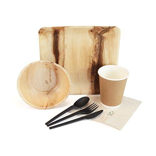 Großartiges BBQ Set von kaufdichgrün I Einweggeschirr Campinggeschirr Grillzubehör: Palmblatt Schalen Palmblatt Teller Kaffeebecher Bioplastik Löffel Gabel Messer Recycling Servietten