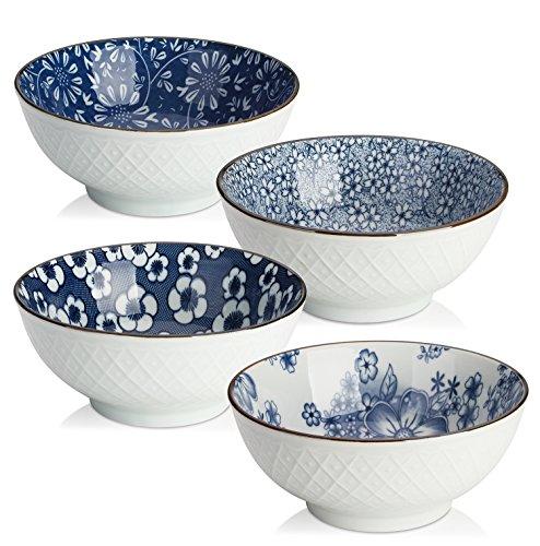 Dowan Keramik Schüssel-Set, japanisches Design Schalen für Müsli/Suppenteller/Pastateller, blau und weiß, Set 4