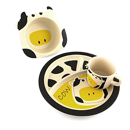 Bamboo Kinderservice-Set 3-teilig aus Bambusfasern Cow