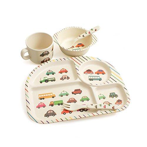 Design61 Bambus Kindergeschirr Set Kinderbesteck Kinderservice 5 tlg. Geschirr Besteck 100% Bio Bambus Auto Motive Schale Teller Löffel Gabel Tasse