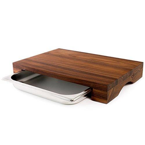 """cleenbo Schneidebrett """"cube walnut"""" Profi Holz Küchenbrett aus geöltem Nussbaum mit verschiebbarer Gastronorm Edelstahl Auffangschale (GN) 1/2, Board Maße: 420 x 290 x 60 mm"""