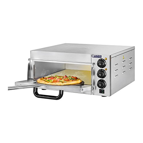 Royal Catering RCPO-2000-1PE Pizzaofen Gastronomie Pizzabackofen (1 Kammer, 2.000 W, 40x40x1,5 cm, Timer 120 min, Edelstahl, Cordierit Pizzastein)