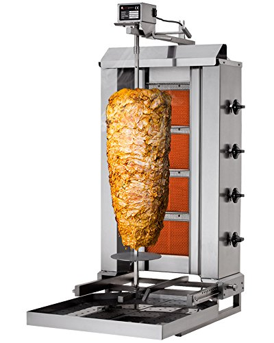 GOO Gastro GO6219G Gewerbe Dönergrill 4 Brenner (beweglich)/max. 60 kg Edelstahl Döner Gyros Hähnchen Kebab Grill Multigrill Hähnchengrill Drehspieß Vertikalgrill Dönermaschine Gyrosmaschine