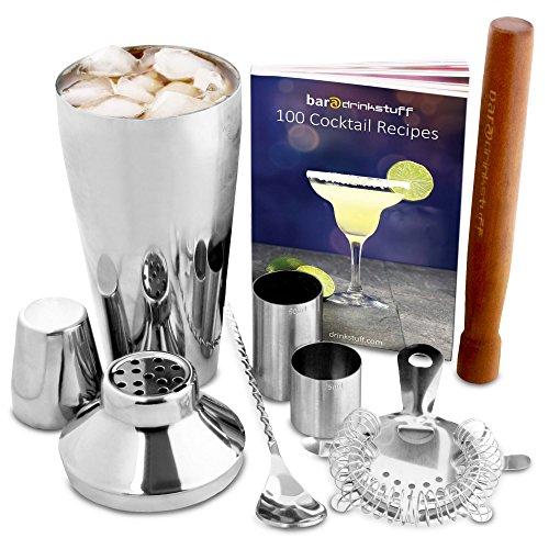 Manhattan Cocktail-Shaker Set in recycelbarer Box von bar@drinkstuff | Kit zum Zubereiten von Cocktails zu Hause mit Manhattan Mixer, Cocktail-Buch (Englisch), Cocktailsieb, Stößel, gedrehtem Barlöffel, 25ml & 50ml Fingerhut-Barmaß
