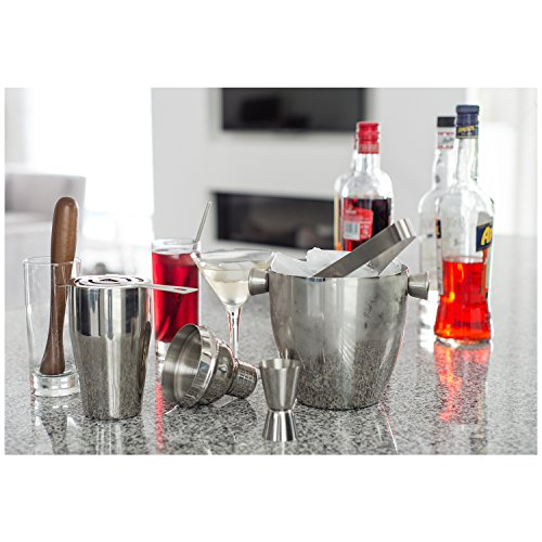 BARcrafts cocktail set - cocktail shaker set - 7 pieces with cocktailshaker 500ml, Jigger, Strainer, Cocktail spoon, Muddler, Tong and Ice bucket 1L by 2L Home and Garden