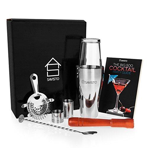 savisto Premium 8-teiliges Cocktail-Set mit Boston Cocktail Shaker, Glas, 500Rezept Cocktail-Buch, 25ml & 50ml Bar Maßnahmen, gedrehter Barlöffel, Sieb, Holzstößel, und elegantes Geschenk-Box