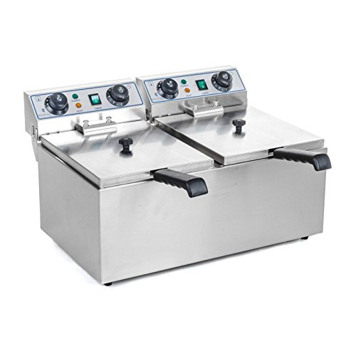 Royal Catering Fritteuse Edelstahl Elektro Doppel Fritteuse RCTF-10DH (2 x 10 L, 2 x 3200 W, Timerfunktion bis 60 min, herausnehmbarer Ölbehälter)