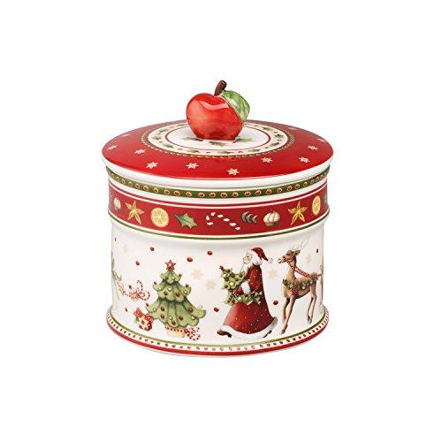 Villeroy & Boch Winter Bakery Delight Kleine Vorratsdose für Gebäck, Premium Porzellan, Weiß/Rot