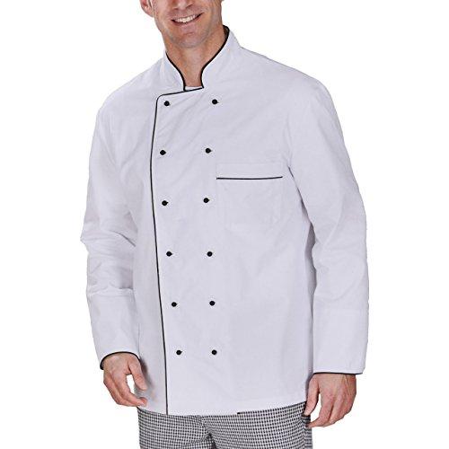 Modische Kochjacke aus einem Baumwoll-Mischgewebe mit Pearl-Finish-Ausrüstung mit Kontrastbiese in schwarz und weiss in verschiedenen Größen (XL, Weiß)