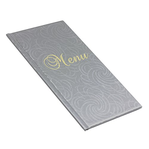 schlichte DIN 1/2 A4 Metallic Flower Design silber Speisekarte 6 Folien Speise- und Getränkekarte edel