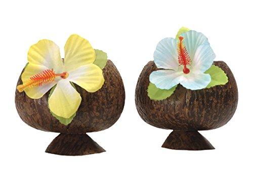 Alsino Kokosnuss Becher mit Strohhalm Coconut Karibik Hawaiiparty Hawaiibecher, wählen:Becher ohne Strohhalm 52374