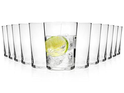 Bormioli Wasserglas Set 12 teilig   Füllmenge 500 ml   Gesamthöhe des Glases 12,3 cm   Zeitloses Trinkglas Set für den alltäglichen Gebrauch