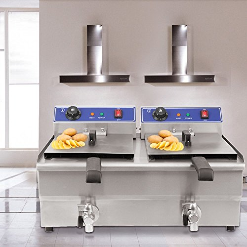 Ridgeyard 19L Edelstahl Stahl doppel fritteuse doppel Tank kommerzielle Küche tief Fett Friteuse Restaurant Deep Fryer