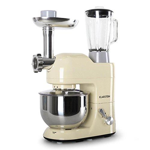 Klarstein Lucia Morena Küchenmaschine Mixer (1200 Watt, 5 Liter Rührschüssel, Fleischwolf, Mixaufsatz) creme