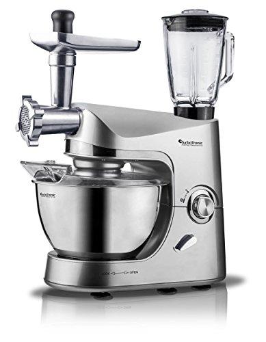 2000 Watt TurboTronic Küchenmaschine proMixPLUS mit Fleischwolf, Standmixer (1,5 Liter, Glasbehälter) und 5 Liter Edelstahl-Schüssel, 2,7 PS starker Motor, Rühr- und Knet-Maschine, Teigkneter