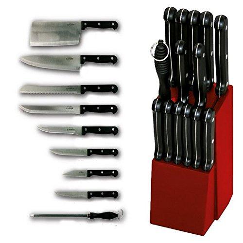 Schäfer 15-teiliges Messer-Set inkl. 1 Messerblock - 1 Kochmesser - 1 Brotmesser - 1 Universalmesser - 1 Hackbeil - 1 Filetiermesser - 1 Tranchiermesser - 6 Steakmesser - 1 Wetzstahl (Rot)